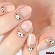 Bear Day Wishing a very to a certain Kim Jongin 🐻🐻💕💕 I honestly never do anything for idols' birthdays, but the timing worked out for this one since I didn't have any pressing. Kawaii Nail Art, Cute Nail Art, Cute Acrylic Nails, Acrylic Nail Designs, Cute Nails, Nail Art Designs, Animal Nail Designs, Latest Nail Designs, Kawaii Makeup