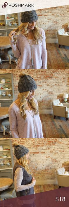 Gray cable knit beanie Super cute warm beanie with faux fur Pom Pom.  IR4550901 Accessories Hats