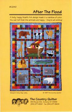 Pattern #cq140. Package includes instructions and patterns for a 40 X 52 inch applique quilt.  Noahs Ark Design.