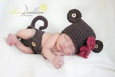 crochet monkey hat and tail & baby cuteness.