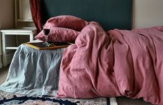 Linen bedding set by House of Baltic Linen. Marsala stonewashed natural linen. Pantone colour of the year!
