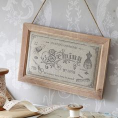 Sewing Plaque-Vintage Fabric-Make do & Mend