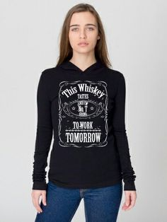 Whiskey Up Women's Long Sleeve Hooded Shirt #hughwear #badass #whiskey #americanmade #USA  www.hughwear.com