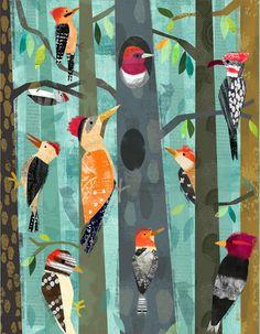 Woodpeckers by Amy Schimler-Safford Canvas Art
