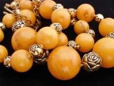 "Vintage Bakelite Rose Bead Necklace Marbled Butterscotch Graduated Gold 20"" | eBay"