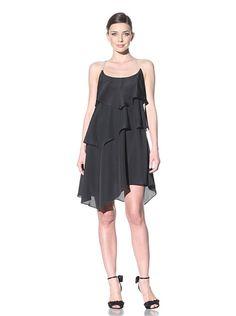 A.B.S. by Allen Schwartz Women's Ruffle Dress With Rhinestone Straps (BLACK)