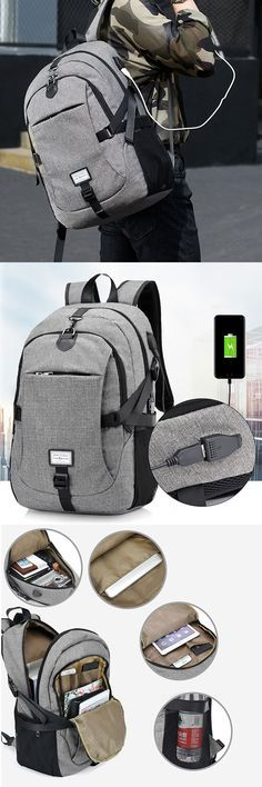 eb07ee588371 17 Inch Nylon Laptop Bag With USB Charger Casual Business Backpack For Men  Women