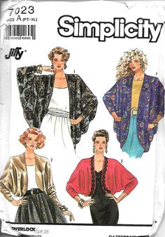 Simplicity 7023 Misses Loose-Fitting jacket Pattern, Two Lengths, PT-XL, UNCUT…