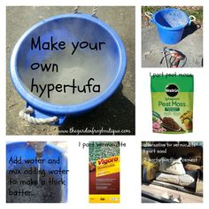 There are several ways to make hypertufa for garden projects and art. My recipe calls for: a bag of Portland Cement (which is readily available at Home Depot for around $12 and will make many proje…