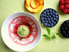 raw vegan lemon & basil ice cream with raspberry sauce and summer fruit