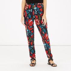 Warehouse, Botanical Floral Trousers Black Pattern 4