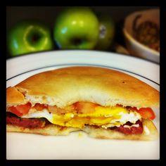 Breakfast sandwich - use a thin bagel, egg, grilled tomato, cilantro ...