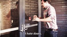 When you go to push a pull door, and slam into it like an idiot: | The 27 Most Relatable Nick Miller Quotes