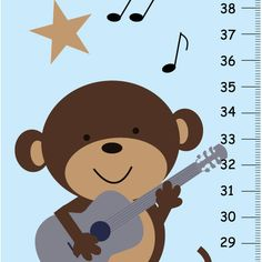 Monkey Rockstar Growth Chart by KidOGrowthChart on Etsy, $33.00