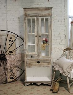 Painted Cottage Chic Shabby Farmhouse Cabinet by paintedcottages, $495.00
