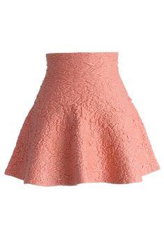 Daisy Embossed Skater Mini Skirt in Pink