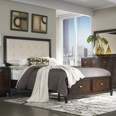 This subtle but elegant queen sized bed will add a bit of class to your bedroom decor. Featuring Asian wood with a bold reddish-brown finish and a cream-bonded leather headboard, this bed will surely be a stunning standout in your bedroom.