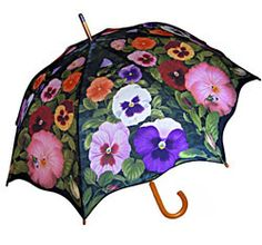 Pansy Stick Umbrellas with Auto Open Button!