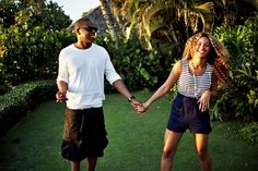 Bey and Jay chilling. Greenest grass ever in the background