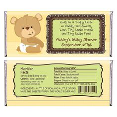 Baby Teddy Bear - Personalized Baby Shower Candy Bar Wrapper Favors | BigDotOfHappiness.com