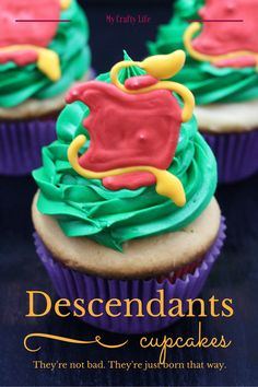 Vanilla cupcakes and villains? Sign me up. These Disney Descendants cupcakes aren't bad, they are just made that way.as in ridiculously bad for your diet. Cupcake Recipes, Cupcake Cakes, Gourmet Cupcakes, Gourmet Desserts, Cupcake Toppers, Dessert Recipes, Vanille Cupcakes, Mocha Cupcakes, Strawberry Cupcakes