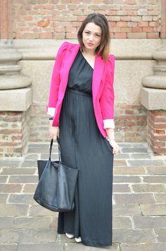 Fuchsia blazer and black dress
