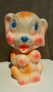 Vintage-1963-DREAMLAND-CREATIONS-Toys-DOG-Hard-Plastic-CUTE-Signed