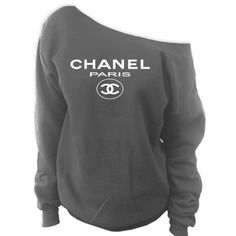 Chanel Paris Off-The-Shoulder Wide Neck Slouchy Sweatshirt