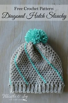 Crochet For Beginners Free Crochet Pattern - Diagonal Hatch Slouchy Hat Crochet Hat With Brim, Crochet Adult Hat, Easy Crochet Hat, Bonnet Crochet, Mode Crochet, Crochet Cap, Crochet Winter, Crochet Beanie, Crochet Scarves