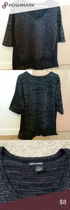 DKNY JEANS short sleeve top Dkny jeans shinny black top,Excellent condition DKNY Tops Blouses