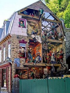 Wonderfully detailed building mural. Multilayered and fascinating. http://prolabdigital.com/products-services/fine-art-digital-prints/wall-murals-wallpapers.html