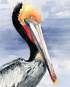Pelican Art Print Signed by Artist DJ Rogers  Home by k9artgallery, $12.50