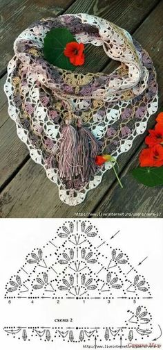 Most up-to-date Absolutely Free lacey Crochet cowl Strategies ideas crochet scarf triangle lace shawl Plaid Au Crochet, Crochet Poncho Patterns, Crochet Shawls And Wraps, Shawl Patterns, Crochet Chart, Knitted Shawls, Love Crochet, Crochet Scarves, Crochet Clothes