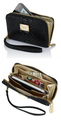 dd4a594edcd7 My super handy Michael Kors iPhone Wallet...want one in black! Or