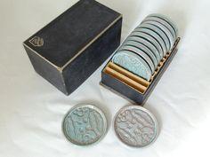 Mid Century Ceramic Coaster Set by LesTempsPerdus on Etsy