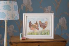 Framed 3 chicken giclee print