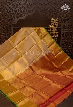 Pure Kanjivaram Silk Saree in Cream with equal Borders in Red, Green a – Shobitam Kanjivaram Sarees, Silk Sarees, Green And Gold, Red Green, Vermillion Red, Gold Silk, Color Combinations, Equality, Weaving