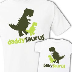 Matching dad and kid / baby dinosaur theme daddysaurus and babysaurus Tshirt or onesie gift set on Etsy, $34.50