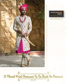 Manawat is an exclusive store and showroom for mens sherwani and other wedding wear like kurta payjama, mens blazer and more. Mens Sherwani, Wedding Sherwani, Churidar, Wedding Wear, Stylish Men, Mens Suits, Floral Prints, How To Wear, Fashion