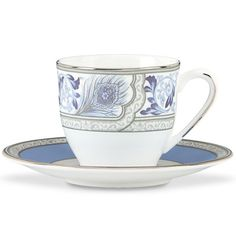Marchesa Sapphire Plume Demi Cup & Saucer