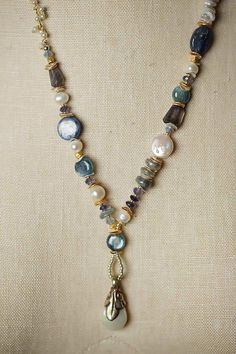 8702b4f2083f Unique Handmade Gemstone Chunky Pearl Dangle Necklace for Women