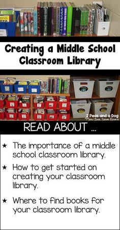It can be a challenge to create a dynamic and useful middle school classroom library from scratch. Read to find out lots of great organization and book acquiring tips from 2 Peas and a Dog. Middle School Libraries, Middle School Writing, Middle School English, Middle School Classroom, English Classroom, Middle School Science, Science Classroom, Classroom Libraries, High School