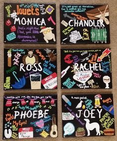 FRIENDS TV SHOW Set of 6 Hand-Painted Acrylic 8X10 Canvases - Monica, Chandler, Ross, Rachel, Phoebe and Joey