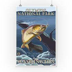 Olympic National Park, Washington - Trout Fishing Cross-Section - Lantern Press Artwork (12x18 Art Print, Wall Decor Travel Poster), Multi