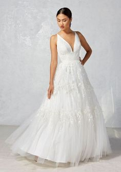 ivy aster fall 2017 bridal sleeveless deep v neck embroidered bodice embroidered tulle skirt romantic a line wedding dress strap back sweep train (dawn) mv -- Ivy & Aster Fall 2017 Wedding Dresses V Neck Wedding Dress, Wedding Dresses With Straps, Wedding Dress Styles, Bridal Dresses, Wedding Gowns, Beautiful Bridesmaid Dresses, Beautiful Gowns, Ivy And Aster, 2017 Bridal
