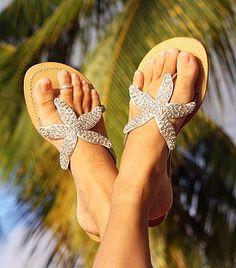 Love these beaded Starfish sandals. Beaded Sandals, Silver Sandals, Leather Sandals, Sparkly Sandals, Baby Sandals, White Sandals, Starfish Sandals, Beaded Starfish, Cute Shoes