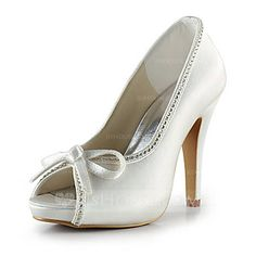 Wedding Shoes - $68.99 - Women's Satin Cone Heel Peep Toe Platform Sandals With Bowknot Rhinestone (047020210) http://jjshouse.com/Women-S-Satin-Cone-Heel-Peep-Toe-Platform-Sandals-With-Bowknot-Rhinestone-047020210-g20210