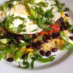 Fried Eggs with Cheesy Brown Rice, Beans and Salsa