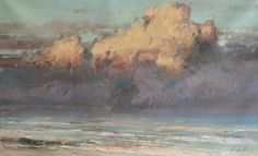 "Artist VAHE YEREMYAN Clouds, 2014   oil painting on stretched canvas one-of-a-kind signed on front 27"" h x 44"" w x 1"" d    $1,575"