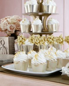 Glam metallic cupcake toppers and liners #LetsCelebrate @Martha Stewart Weddings Magazine